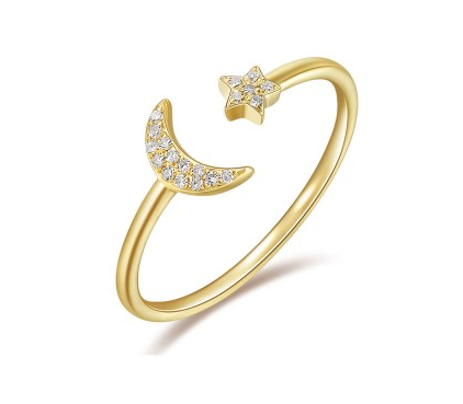 GOLD MOON AND STAR RING