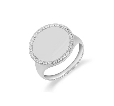 14KT SOLID CIRCLE RING - Cabochon Fine Jewelry