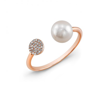ROSE PAVE CIRCLE  & PEARL CUFF RING - Cabochon Fine Jewelry