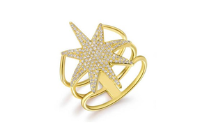 GOLD  NORTH STAR RING - Cabochon Fine Jewelry