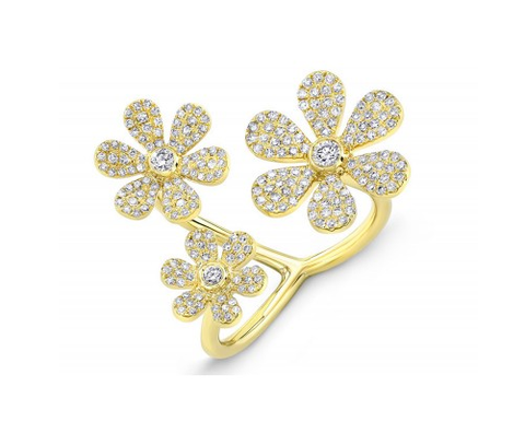 GOLD 3 FLOWER RING