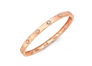 14K ROSE GOLD STAR BANGLE - Cabochon Fine Jewelry