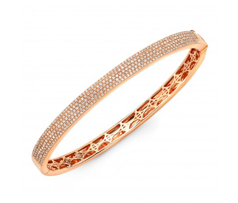 14K ROSE GOLD FLAT PAVE BANGLE - Cabochon Fine Jewelry