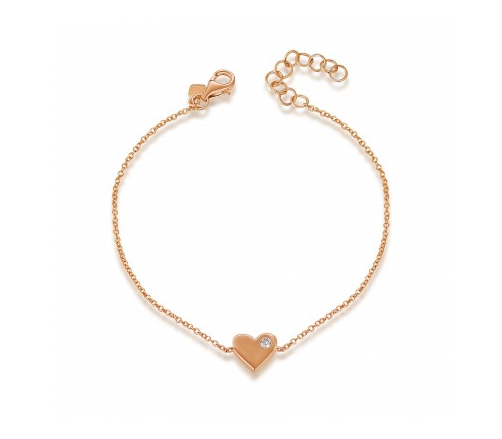 14K ROSE GOLD SOLID HEART BRACELET - Cabochon Fine Jewelry