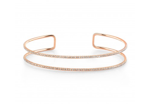 14K ROSE GOLD DOUBLE ROW CUFF BANGLE - Cabochon Fine Jewelry