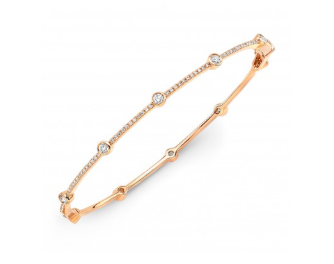 14K ROSE GOLD BEZEL AND BARS BRACELET - Cabochon Fine Jewelry