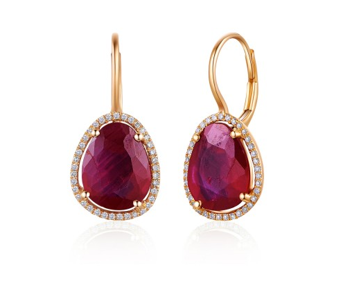 ROSE RUBY EARRINGS - Cabochon Fine Jewelry