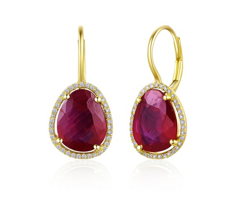 GOLD RUBY EARRINGS - Cabochon Fine Jewelry