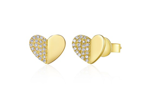 GOLD FOLDED HEART STUD EARRINGS - Cabochon Fine Jewelry