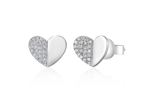 14KT FOLDED HEART EARRINGS - Cabochon Fine Jewelry
