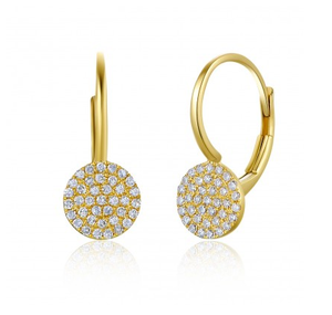 GOLD ROUND DISC EUROWIRE EARRINGS