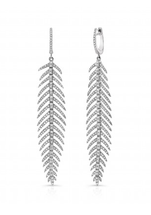14KT DANCING FEATHER EARRINGS - Cabochon Fine Jewelry