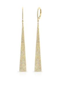 GOLD ELONGATED TRIANGLE EARRINGS - Cabochon Fine Jewelry
