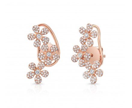 ROSE PAVE FLOWER TRIO EAR CLIMBER EARRINGS - Cabochon Fine Jewelry