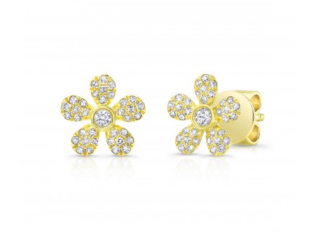GOLD PAVE FLOWER EARRINGS - Cabochon Fine Jewelry