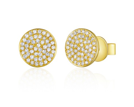 GOLD LARGE DISC EADGE EARRINGS - Cabochon Fine Jewelry