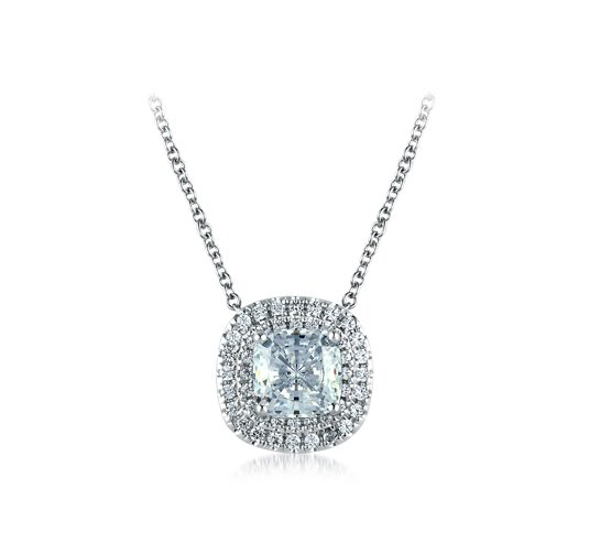 CUSHION DOUBLE HALO DIAMOND NECKLACE - Cabochon Fine Jewelry