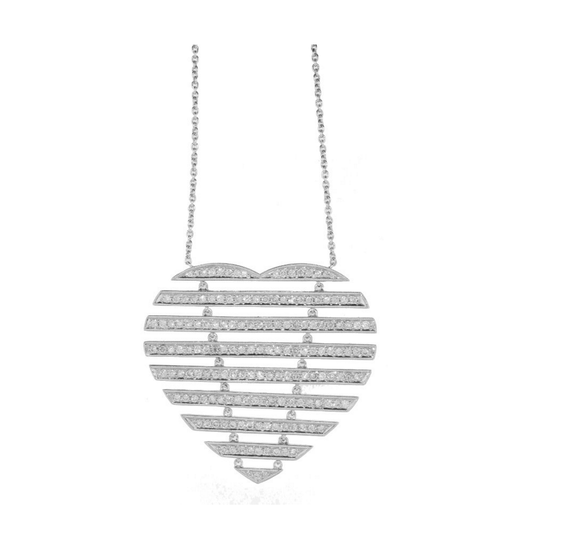 STRIPPED DIAMOND HEART NECKLACE - Cabochon Fine Jewelry