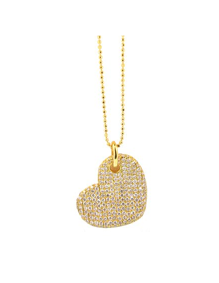 GOLD DIAMOND HEART NECKLACE - Cabochon Fine Jewelry