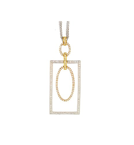MULTI TONE SHAPE DIAMOND NECKLACE - Cabochon Fine Jewelry
