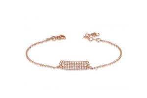 ROSE RECTANGULAR PAVE ID BRACELET - Cabochon Fine Jewelry