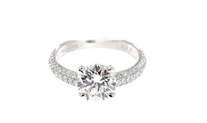 18KT DOUBLE ROW DIAMOND ENGAGEMENT RING SET
