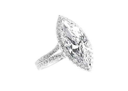 MARQUISE HALO DOUBLE SHANK DIAMOND ENGAGEMENT RING - Cabochon Fine Jewelry