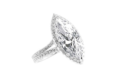 MARQUISE HALO DOUBLE SHANK DIAMOND ENGAGEMENT RING