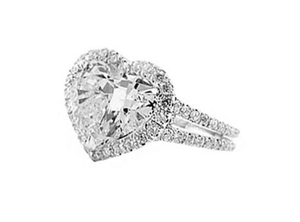 HEART SHAPE HALO DOUBLE SHANK DIAMOND ENGAGEMENT RING - Cabochon Fine Jewelry