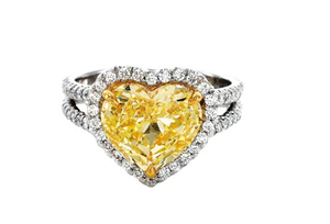 HEART SHAPE YELLOW HALO DOUBLE SHANK WEDDING RING - Cabochon Fine Jewelry