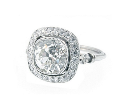 DIAMOND HAMO BEZEL SET ENGAGEMENT RING - Cabochon Fine Jewelry