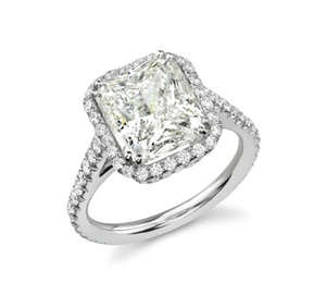 CUSHION CUT HALO DIAMOND ENGAMENT RING - Cabochon Fine Jewelry
