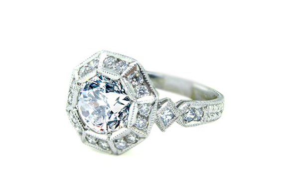 VINTAGE INSPIRED IDEAL CUT DIAMOND RING - Cabochon Fine Jewelry