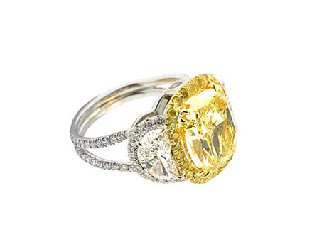 YELLOW DIAMOND HALO RING WITH HALF MOON SIDE STONES - Cabochon Fine Jewelry
