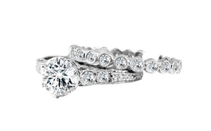 DIAMOND ENGAGEMENT RING AND ETERNITY BAND SET - Cabochon Fine Jewelry