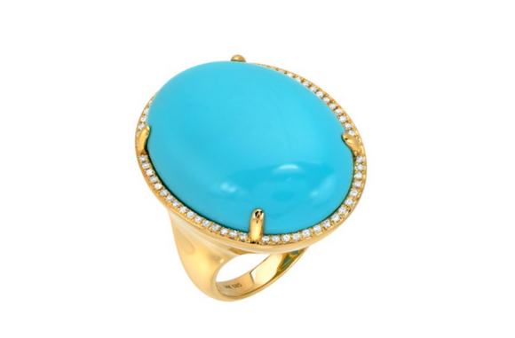GOLD TURQUOISE RING SET - Cabochon Fine Jewelry