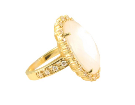 MOTHER OF PEARL OVAL RING - Cabochon Fine Jewelry