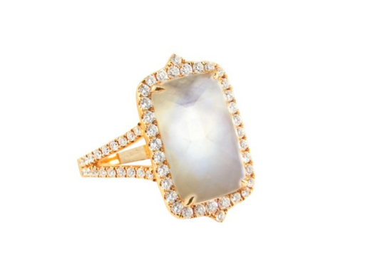 WHITE TOPAZ MOON STONE RING - Cabochon Fine Jewelry