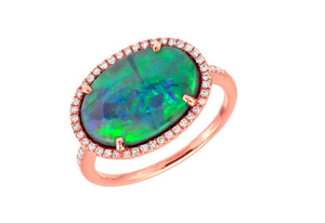 ROSE OPAL PAVE RING SET - Cabochon Fine Jewelry