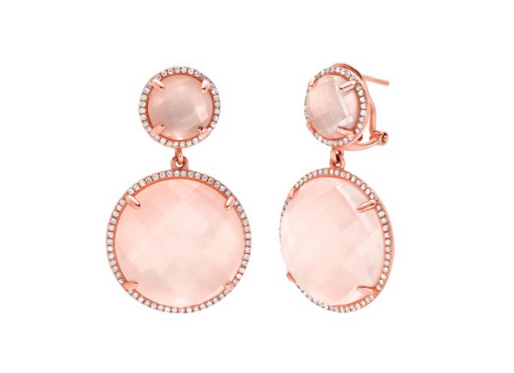 DOUBLE CIRCLE DROP ROSE QUARTZ EARRINGS - Cabochon Fine Jewelry