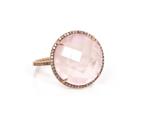 ROSE QUARTZ DIAMOND RING - Cabochon Fine Jewelry
