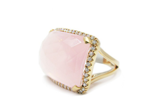 GOLD DIAMOND ROSE QUARTZ RING - Cabochon Fine Jewelry