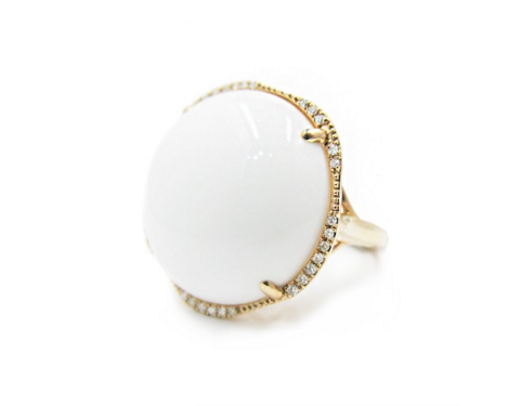 WHITE AGATE PAVE DIAMOND RING - Cabochon Fine Jewelry