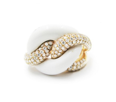 WHITE AGATE DIAMOND RING - Cabochon Fine Jewelry