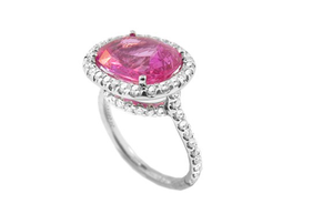 PINK SAPPHIRE HALO DIAMOND RING SET - Cabochon Fine Jewelry