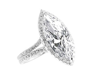 CENTER MARQUISE CUT DIAMOND WITH MICRO PAVE SET HALO SPLIT SHANK
