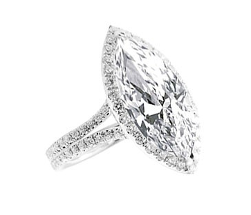 CENTER MARQUISE CUT DIAMOND WITH MICRO PAVE SET HALO SPLIT SHANK - Cabochon Fine Jewelry