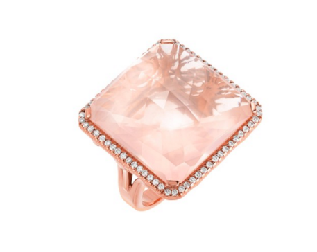 ROSE QUARTZ PAVE DIAMOND RING - Cabochon Fine Jewelry