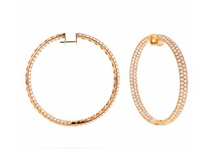 18K PAVE DIAMOND HOOP EARRINGS - Cabochon Fine Jewelry