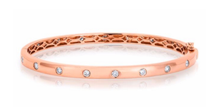 ROSE GOLD SPARKLE FULL DIAMOND BANGLE - Cabochon Fine Jewelry